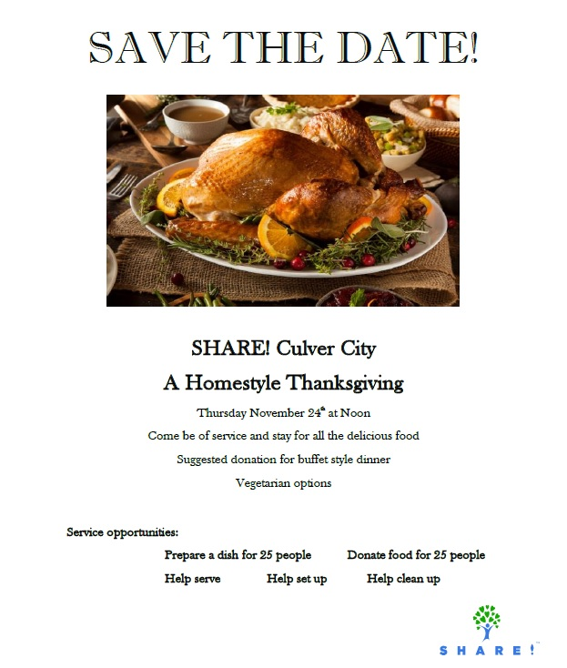 Thanksgiving 2016 at SHARE! – Volunteer Opportunities
