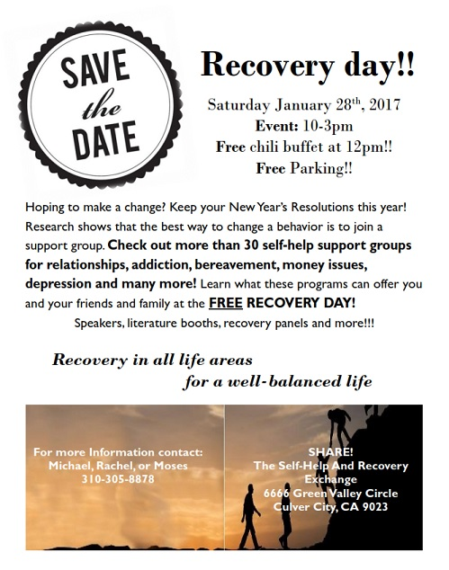 Enjoy Recovery Day at SHARE! Culver City Jan. 28, 2017
